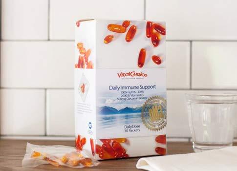 Vital Choice Daily Immune Support - Omega 3s + Vitamin D3 + Curcumin