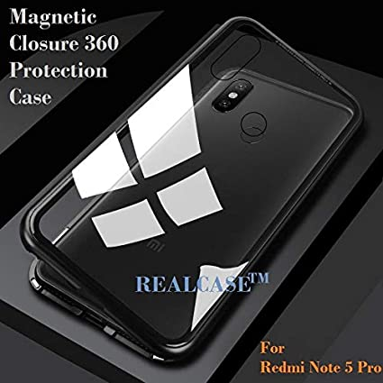 huge discount 004e2 9de1e REALCASE Ultra Slim Magnetic Adsorption Metal Frame and Clear Tempered  Glass on Back, Built-in Powerful Magnet Back Cover for Xiaomi Redmi Note 5  Pro ...