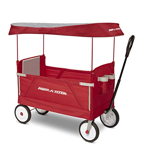 Radio Flyer 3-In-1 EZ Folding Wagon with Canopy for kids and cargo ()