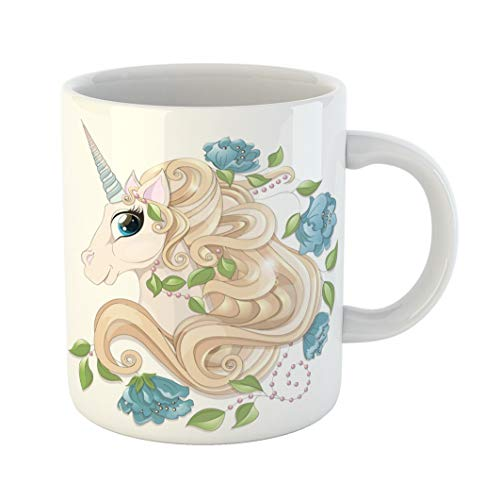 ffee Mug Colorful Airy Head of the Fairy Unicorn Golden Curly Mane Blue Horn Flowers Peonies Green Leaves Pearls Beads in Cartoon Animal White Ceramic Glossy Tea Cup gift ()
