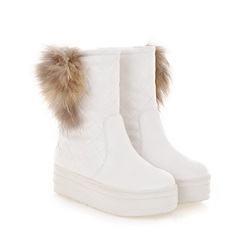 US Round with Short Solid Womens Heels B Boots Plush White PU 5 Artificial turf AmoonyFashion Low Toe M 7 Close Frosted q1R8RE