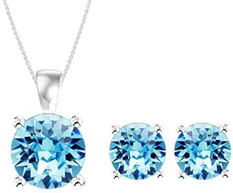 4ccf3b4f6 Swarovski Pendant Necklace Earrings Studs Jewelry Set Sterling Silver March  Birthstone Aquamarine Color for Women and