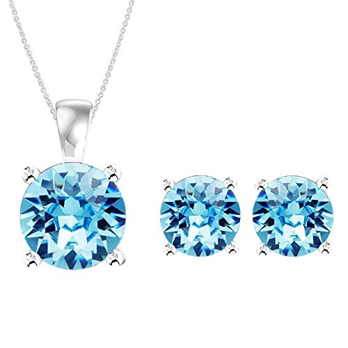 (Swarovski Pendant Necklace Earrings Studs Jewelry Set Sterling Silver March Birthstone Aquamarine Color for Women and)