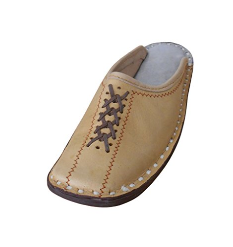Kalra Creations Men's Traditional Indian Leather Ethnic Slipper Shoes Camel