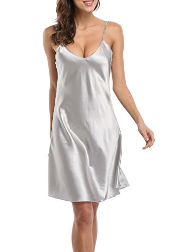 Old-to-new Satin Chemises Slip Lingerie Sleepwear Lady Girls Sexy Nightdress ()
