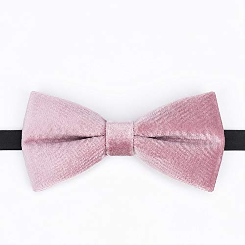 (JYEMDV Textured Velvet Naked Pink Handmade Necktie Casual Wedding Bow Neckcloth Fashion Alloy Plated Buckle Neckwear)