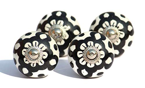 (Set of 4 Black and White Ceramic Knobs for Cabinet Dresser Drawers - poignées céramique - Cabinet pulls - Perillas - Boutons)
