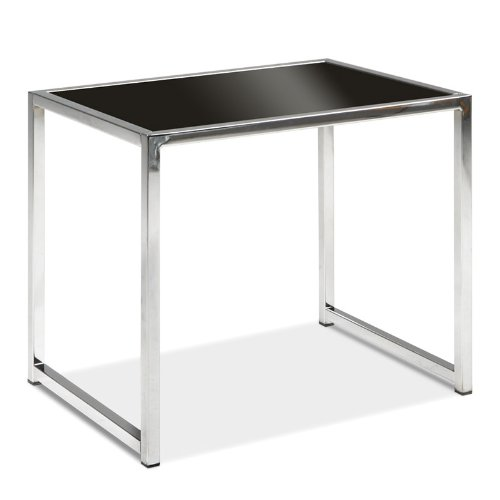 Avenue Six Yield End Table with Black Glass Top and Chrome Finish Frame.