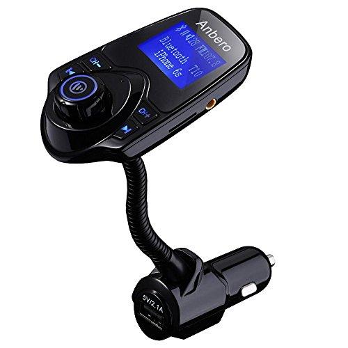 Anbero FM Transmitter Bluetooth Freisprecheinrichtung Auto Adapter KFZ MP3 Player mit USB-Autoladegerät, 3,5 mm Audio Jack, Micro SD Kartensteckplatz, 1,44 Zoll Digital Display