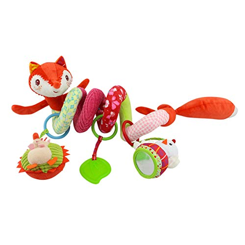 Binory Infant Spiral Bed Stroller Toy,Cute Fox Hanging Soft Stuffed Animal Plush Toy,Hanging Bell Fits Stroller & Pram,Soothing Baby Sleep Natural Teether and Shaker Toy,Children's Day Gift ()