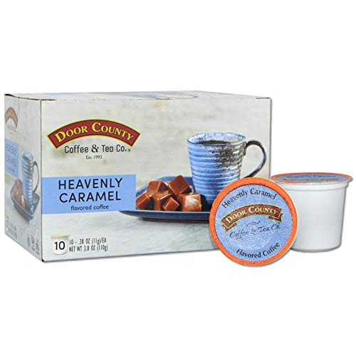 Door County Coffee, Single Serve Cups for Keurig Brewers, Heavenly Caramel Flavored Coffee, Medium Roast, Ground Coffee…
