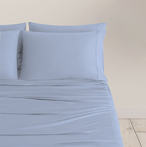 SHEEX BREEZY COOLING Sheet Set with 2 Pillowcases, Ultra-Lightweight, Breathable, Silky-Soft Fabric for a Cool and Comfortable Night's Sleep, Skye Blue (Full) - Light Arctic Blue Apparel