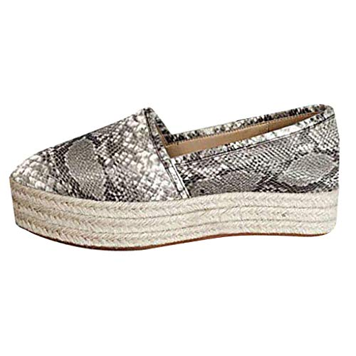 TnaIolral Ladies Shoes Fashion Snake Print Platform Slip On Round Toe Casual Flats Boat Sneaker (US:5.5, White)
