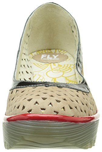FLY London Yare 597, Bailarinas para Mujer Multicolor (Cupido Damani Beige/Black/Red)