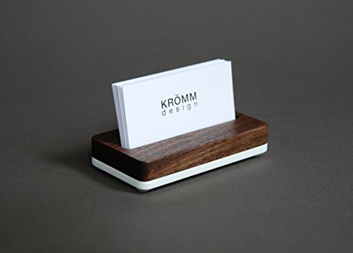 Business Card Stand/Business Card Holder/Business Card Display for Horizontal Business Cards, Walnut Wood and Solid White Acrylic