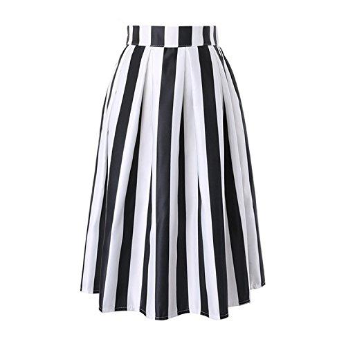 Kongsta Women Skirt NEW Summer Vintage Vertical Striped Printed Ball Gown High Waist Pleated Midi Skirt Circle Skirt Black One Size