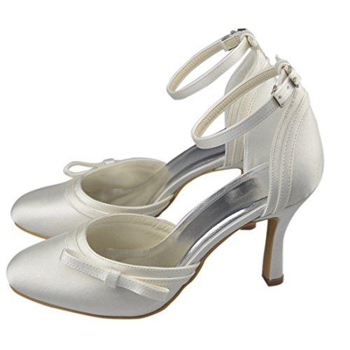 Minishion Yr001 Womens Stiletto Hoge Hak Satijn Avondfeest Bruids Bruiloft Strappy Schoenen Ivoor-9cm Hak