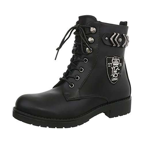 Schuhe Strass Halbschaft Schnürstiefel Boots Worker Stiefel Damen 36 Boot Stiefeletten Schuhe 41 Combat Schnürer Schwarz S8WnWPqw