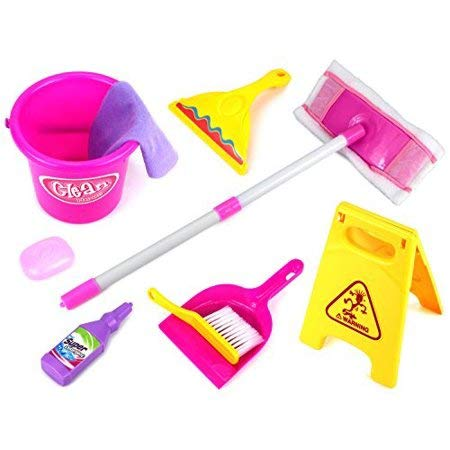 Little Helper Pretend Play Toy Cleaning Play Set w/ Mop, Bucket, and Accessories
