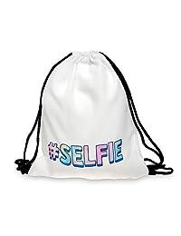Drawstring Backpack Rucksack School Book Bag Gymbag Selfie White [010]