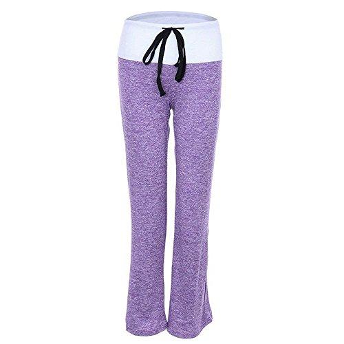 Airy Bretelles Élastique Long De Pantalon Confortable Mode Élégant Sport Femme Formation Legging Cadeaux Taille Lilas Bicolor Survêtement Croisées x1xfgwUqp