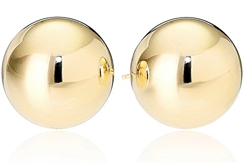 Amazon Essentials Yellow Gold Plated Sterling Silver Polished Ball Stud Earrings (12mm) ()