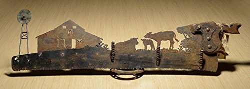 (CUSTOM Farm Scene Hand (plasma) cut hand saw Metal Art | Wall Decor | Recycled Art | Re-purposed - Made to Order to tell YOUR story!)