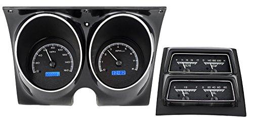 (Dakota Digital 68 Chevy Camaro Analog Dash Console Gauge Black Alloy Blue VHX-68C-CAC-K-B)