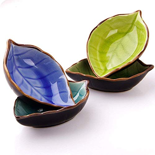 (Saibang Leaf Shape Sauce Dishes, Hand-crafted Ceramic Plate (4-pack) )
