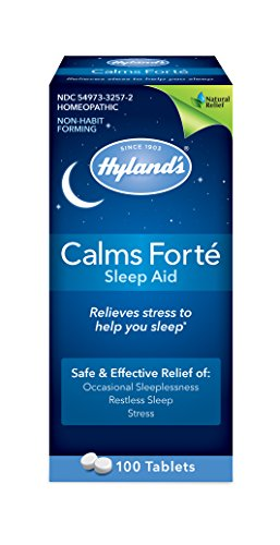 Sleep Aid Tablet Calms Forte by Hyland's, Quick Dissolving Natural Relief of Stress, Anxiousness, Nervousness and Irritability, 100 Count (Pack of 3) Packaging May Vary