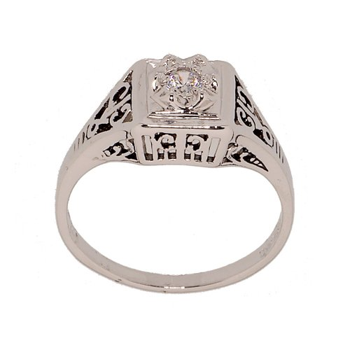 Rhodium Plated Antique Style Ring (Rhodium Plated Dainty Cubic Zirconia Ring in Antique Style Setting that Looks Totally Real Size 7)