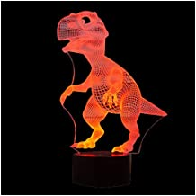 SODIAL(R) 3D Lamp Optical Illusion Led Night Light, Amazing 7 Colors Dinosaur Shape Lamps with USB Charge for Home Decor