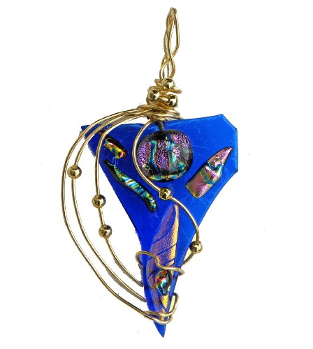 - Fused Dichroic Glass Pendant Gold Plate Wire, Design by Renata