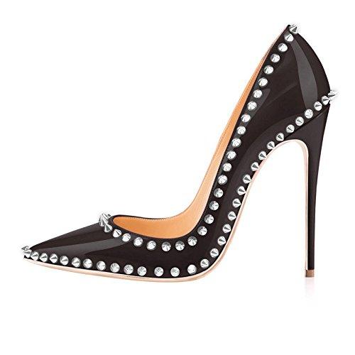 Arc-en-Ciel los zapatos de las mujeres de las bombas de tacón alto en punta del dedo del pie del estilete de los remaches de plata Negro