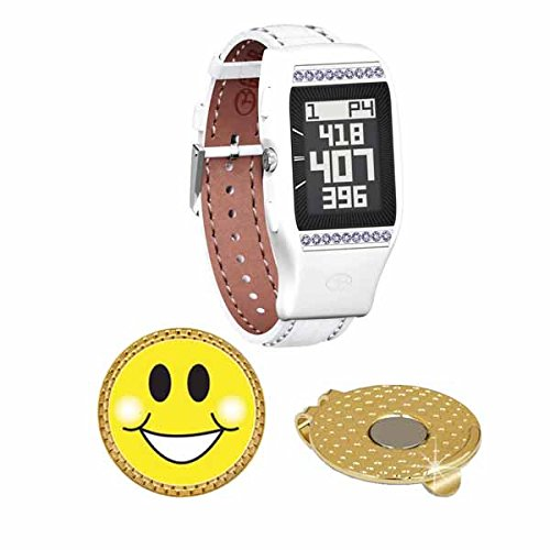 GolfBuddy LD2 Golf GPS/Rangefinder Watch with Swarovski Crystal (40k+ Preloaded Worldwide Courses) Bundle with Magnetic Hat Clip Ball Marker (Smiley Face) by Amba7