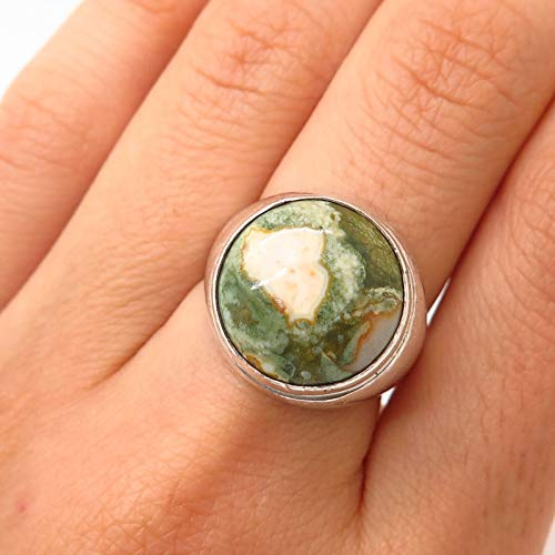 VTG 925 Sterling Silver Real Ocean Jasper Gem Ring Size 6.5 Jewelry by Wholesale Charms ()