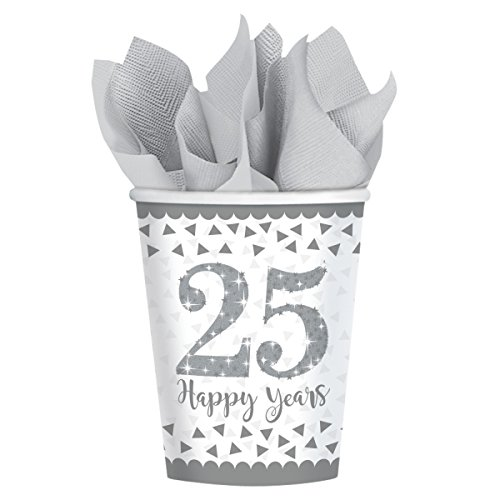Sparkling Silver 25th Anniversary Paper Party Cups x 8 Amscan International
