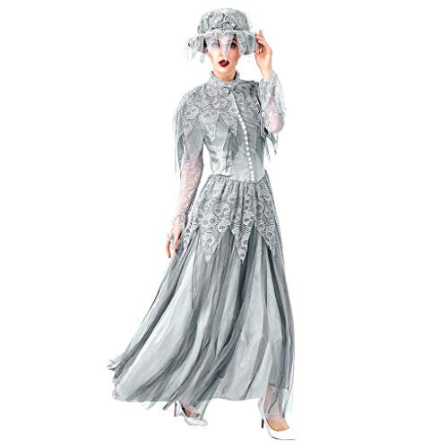 Halloween Cosplay Idea (Goddessvan Fashion Women Halloween Cosplay Vintage Style Ghost Bride Gothic Dress)