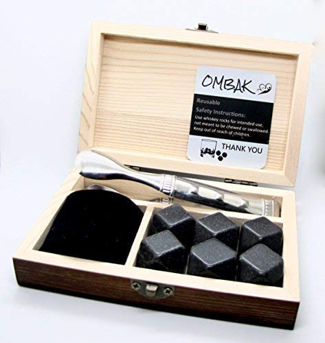 Whiskey Rocks, Gift Set Of 6 Diamond Shaped and Polished Stones, Made of Natural Basalt Stone, Keep Your Drink Ice Cold Without Dilution, Engraved Wood Box with Velvet Bag For Refrigeration (Basalt Rocks)