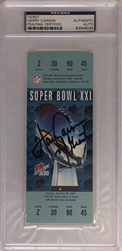 Harry Carson Autographed Signed Giants Replica SB Super Bowl XXi Football Ticket Memorabilia - PSA/DNA Authentic ()