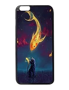 Art Fantasy Goldfish Kitten Night Stars Durable Unique Design Hard Back Case Cover For iPhone 6 Plus - 5.5