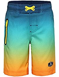 Boys' 4-Way Stretch Board Shorts Swim Trunks with Mesh Lining