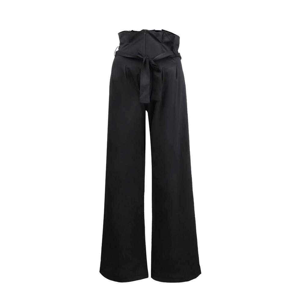 Pervobs Women Solid Mid Elastic Waist Relaxed Fit All Day Straight Long Loose Pants With Lace Up(XL, Black)