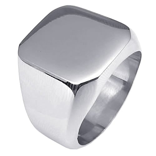 UM Jewelry Mens Stainless Steel Biker Signet Style Classic Ring Engravable Heavy (Mens Solid Back Signet Ring)