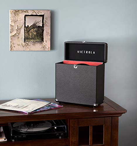 Innovative Technology Victrola Vintage Vinyl Record Storage Carrying Case for 30+ Records, Black - VSC-20-BK, One Size
