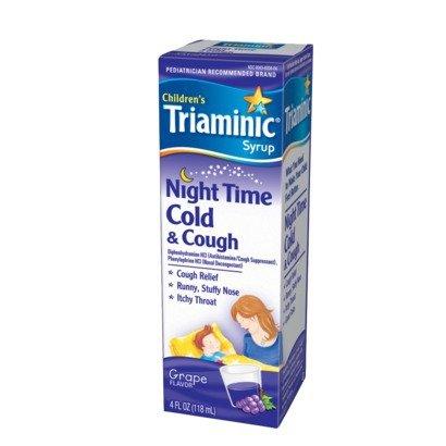 Triaminic Cold & Cough, Night Time, Syrup, Grape Flavor, 4 Oz