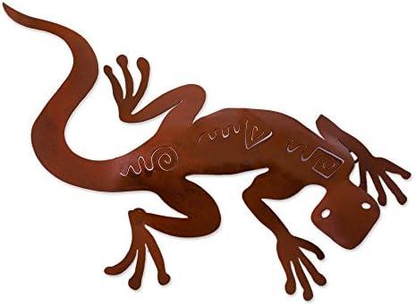NOVICA 94576 Spying Gecko Iron Wall Adornment