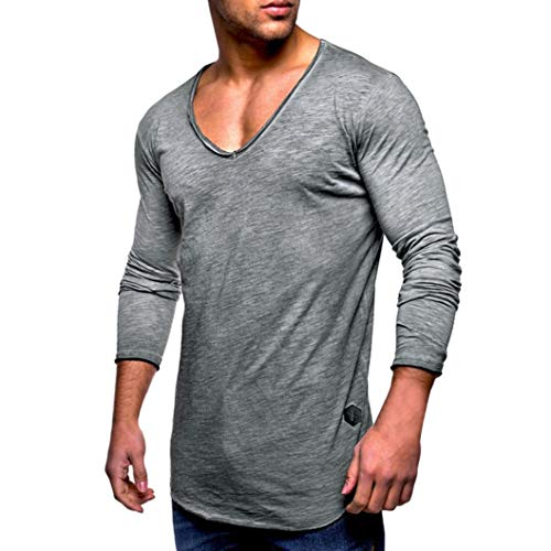 (OWMEOT Mens Solid Extended Hipster Hip Hop Swag Curve Hem Long Sleeve T Shirt (Gray, L))