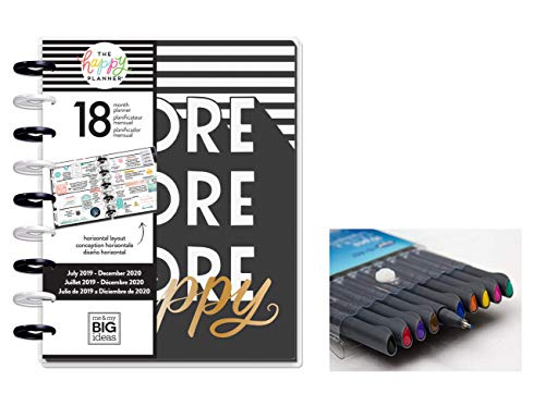 me & My Big Ideas The Happy Planner: Medium/Classic Sugar and Type More Happy July 2019 - Dec 2020 and Comes with Kemah Craft 10 Pc Fineliner Color Pen (PLNR-120)