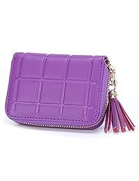 MuLier Genuine Leather Zipper Purse Tassels Anti RFID Credit Card Holder Small Wallet (Purple)